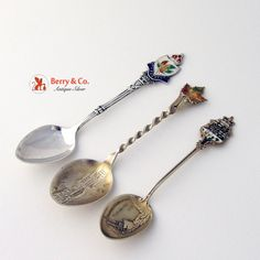 """Canadian sterling silver set of three demitasse souvenir spoons with enamel decorations; two of them have depictions in the bowls: pioneer S.S. Beaver, Vancouver and """"View from the river, Sherbrooke,Que."""""""