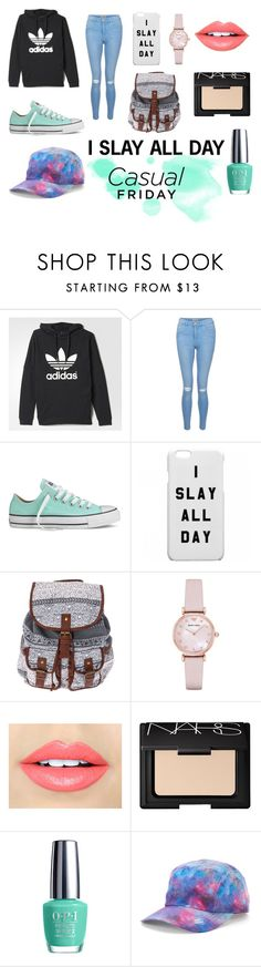 """""""I slay all day"""" by lauren53103 on Polyvore featuring New Look, Converse, Emporio Armani, Fiebiger, NARS Cosmetics, OPI, Fila and slay"""