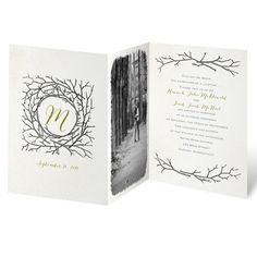 Fall's abundance of natural beauty becomes the inspiration for these z-fold wedding invitations. A burlap-textured background lends a rustic quality to the fall wedding invites. Your last-name initial and wedding date appear on the front panel, your photo appears on the middle panel and your wording appears on the last panel. Your wording is printed in your choice of colors and lettering styles. Invitation includes inner and outer envelopes.