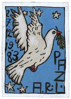 Antonio Roseno de Lima Paz, 1983 Paint, lacquer and ballpoint pen 21.3 x 15.2 cm Photo : Arnaud Conne, Atelier de numérisation - Ville de Lausanne Collection de l'Art Brut, Lausanne