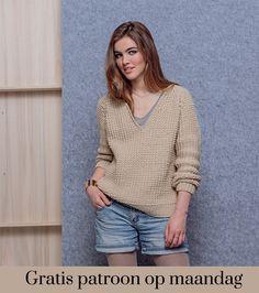 Gratis patroon op maandag - Breipatroon trui. Ontvang ieder maandag het gratis patroon en een leuke aanbieding van het garen. Drops Design, Pulls, Pullover Sweaters, Knit Crochet, Knitting Patterns, Autumn Fashion, Vest, Sarees, My Style