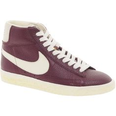 Nike Blazer Mid Red Leather Sneakers ❤ liked on Polyvore