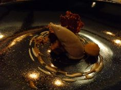 Chocolate, roasted banana sorbet, peanut butter powder @ Restaurant Jan