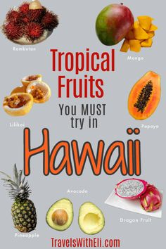 The variety of tropical fruit in Hawaii is astounding. Your Hawaii vacation won't be complete without sampling some of these exotic Hawaiian fruits. Hawaii Vacation Tips, Hawaii Travel, Beach Vacations, Beach Travel, Usa Travel, Oahu Luau, Mango Fruit, Fruit Stands, Variety Of Fruits