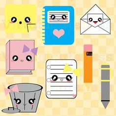 Kawaii Office Clipart - Stationary, Cute Clipart, Notebook, Paper, School Clipart, Envelope, Pencil, Pen, Free Commercial and Personal Use