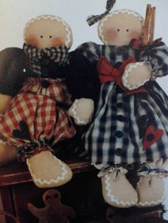 Primitive, Country, Handmade, Gingerbread  Boy, and Gingerbread Girl, Christmas, Dolls
