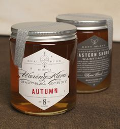 Honey products.  The design system uses repetitive hexagon shapes, contrasting serif, sans serif, and script typefaces.  It's so simple and distinct.