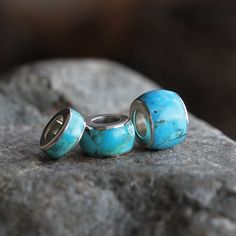 Turquoise Bead Sterling Silver Charm Bead For by jewelrybyjohan
