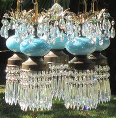 5L Vintage Robin Egg Turquoise Tole Brass Hanging Swag Lamp Chandelier Spelter | eBay