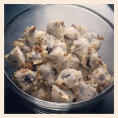 Frozen, Greek Yogurt covered blueberries sprinkled with crushed almonds
