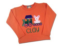 Boy's Easter Shirt - Easter Bunny on Train with Embroidered Name by SunbeamRoad
