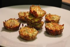 *Zucchini Bites.  Squeeze dry 1 grated zuc.  Add 1/4 onion chopped, 1/4 C cheddar, 1/4 C almond flr, 1 egg, 1/2 t pepper, 1/4 t salt.  Spray and fill 20 mini muffin tin sections. 15 mins. at 350.
