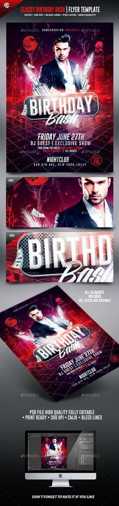 Classy Birthday Party Psd Flyer Template Psd flyer templates - birthday flyer template