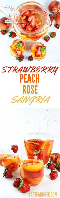 This picture-perfect refreshment is full of fresh strawberries and peaches, strawberry liqueur, peach nectar, vodka and Rosé wine. All of our faves in one glass! #sangria http://tasteandsee.com