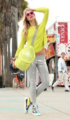 Easy-breezy California styles // Material Girl sweater and pants from macys.com // Giuseppe Zanotti sneakers // Sunglasses at quayeyeware.com.au // Converse duffel bag
