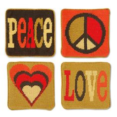Peace and love needlepoint coasters.