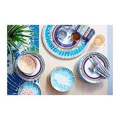 IKEA - DRIFTIG, Teller, Geschirr mit modern-verspieltem Muster, inspiriert durch die  Natur und die Welt der Mode.Mit der gleichen Form wie die einfarbige FÄRGRIK Serie - für einfaches Gestalten individueller Tischdekoration.