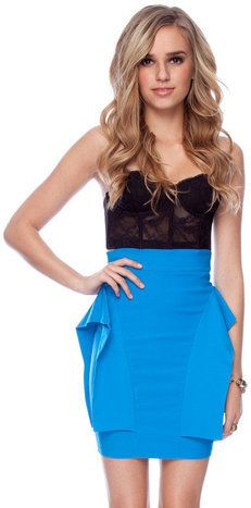 #Tobi                     #Skirt                    #Peplum #Skirt #Turquoise #tobi                     Peplum Skirt in Turquoise :: tobi                                             http://www.seapai.com/product.aspx?PID=1187368