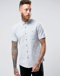 e58b2d22a9f5c3 Bild 1 von ASOS – Oxford-Hemd mit Noppen in Khaki und regulärer Passform  Mode