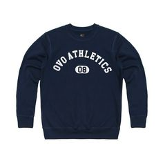 OVO ATHLETICS CREWNECK SWEATSHIRT October's Very Own ($128) ❤ liked on Polyvore featuring tops, hoodies, sweatshirts, sweat shirts, crew neck sweat shirt, sweatshirt hoodies, crewneck sweatshirt and blue top