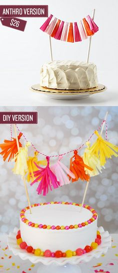 Decorate a cake with a miniature tassel garland. | 38 Anthropologie Hacks
