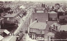 Essex, Leigh-on-Sea, Broadway from the Church Tower - showing a vintage tram and shops.jpg (870×533)