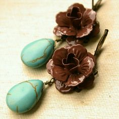 Items similar to Bailey, Turquoise and Chocolate Rose Earrings, Blue Teardrop Earrings, Bridesmaids Earrings on Etsy Chocolate Roses, Mint Chocolate Chips, Red Turquoise, Turquoise Jewelry, Mint Creams, Western Girl, Western Wear, Mint Gold, Creative Colour