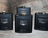 Express shipping Set of 6 engraved Flasks, Groomsmen flask, Best man flask, Custom engraved 6oz flask., flask, personalized flask,