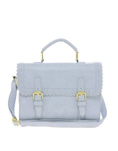 Image 1 of ASOS Satchel Bag With Scallop Trim And Buckles. Similar to her grey bag she often takes with her shopping. :)