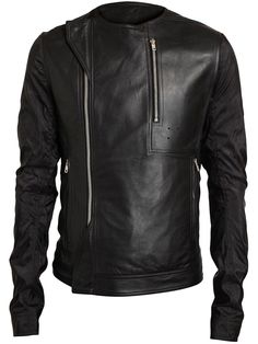 Rick Owens | Vicious Leather And Mesh Biker Jacket.