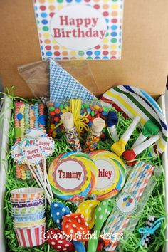 birthday party in a box...creative gift idea for those loved ones that are far away! :)