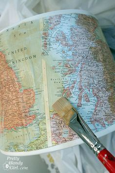 Vintage map lampshade tutorial. Could be done with any picture really