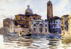 John Singer Sargent (1856 — 1925, USA) Palazzo Labbia, Venice. 1913 watercolour on paper. 25.4 x 35.6 cm.