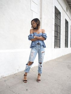 STATEMENT SLEEVE  Unconscious Style || @shhtephs  Treat You Well Off Shoulder Top – Akira | Distressed Boyfriend Denim – Levi's | Western Belt – ASOS | Get Used To It Black Strappy Heel – LaModa | Mesh Watch – Kapten & Son |