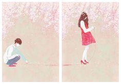 Cherry Blossom (2012)   personal work ,digital painting, photoshop illustration by gobugi