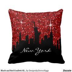 #Black and #Red #Confetti Glitter #New #York #Skyline #Pillow #zazzlebesties #zazzle #home #shopping