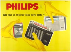 "Philips / Artist: Raoul Eric Castel /  Origin: France - c. 1960 /  63 x 42 in (160 x 107 cm) / Philips  do you have a ""Ministor"" in your pocket?"