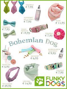 Voor jou bij elkaar gezocht, mix & match bijzondere & unieke hondenhalsbanden, honden bandana's, hondenstrikken, stropdassen voor honden, natuurlijke verzorgingsproducten voor honden en nog veel meer...
