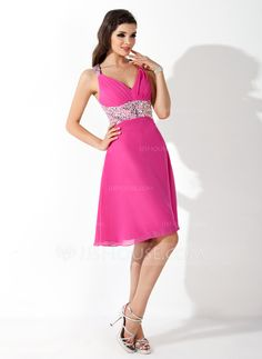 A-Line/Princess V-neck Knee-Length Chiffon Cocktail Dress With Beading (016008381)