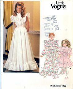 Little Vogue 1339 Girls Dress Pinafore Ruffles Size 12 14 Uncut Vintage Sewing Pattern 1980s. $8.00, via Etsy.
