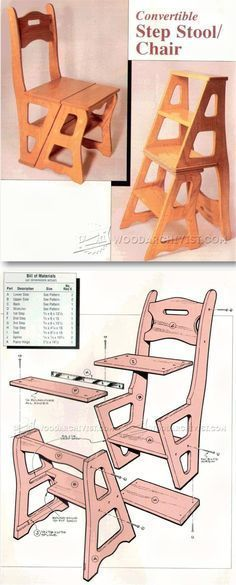 Chair Step Stool Plans - Furniture Plans and Projects | WoodArchivist.com #woodworkingplans