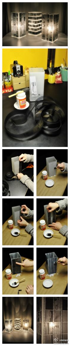Mod Podge negatives to a square vase.  I just found one of these at my house.. definitely going to use it to do this!