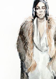 Sonia Rykiel fall 2014 fashion illustration by Elena Ciuprina. fashion illustration; sketch; watercolor on paper; watercolor; fashion  elenaciuprina.com