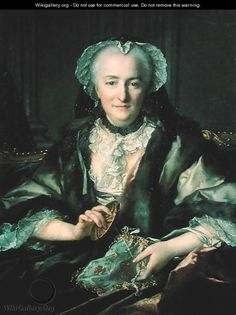 Portrait of Madame Dange, 1753 - Louis Tocque Gorgeous work bag!