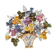 A Chantecler Coloured Sapphire and Diamond Brooch