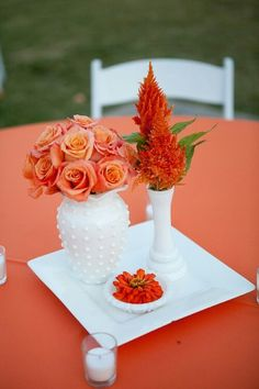 Fall wedding centerpieces   Specifically... use of color with Milk Glass.