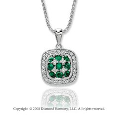 14k White Gold Fabulous 1/4 Carat Diamond Emerald Necklace -> Description: This beautiful vintage style necklace is crafted of fine 14k white gold with gorgeous green emeralds and sparkling white diamonds. Treat youelf with this 14k White Gold Fabulous 1/4Carat Diamond Emerald Necklace. -> sku=PT10513 -> Price $670.00