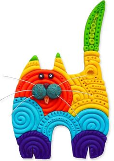 Perhaps a polymer version of lolcats will brighten your mid-week. This feline brooch from TZis bright and simple and fun. Spiraled extruded strings of clay are cut out in a kitty shape and enhanced with texture. A few dabs of clay form the che [...]