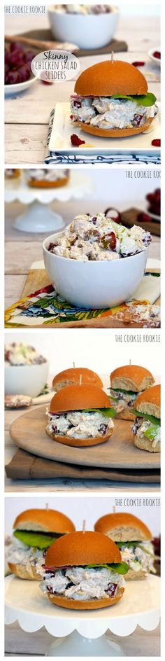 Skinny Chicken Salad Sliders made with Greek Yogurt.  Healthy Chicken Salad! YES!!! - The Cookie Rookie: