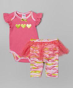 Cudlie Neon Pink Zebra Angel-Sleeve Bodysuit & Skirted Leggings by Cudlie #zulily #zulilyfinds